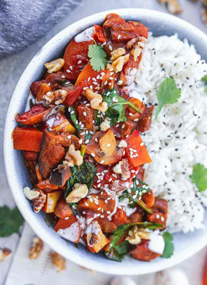 Vegan eggplant butternut squash curry