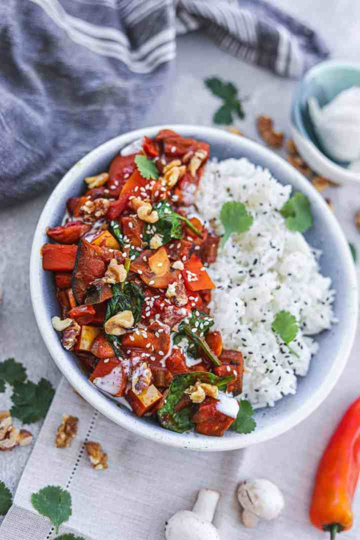Vegan curry with rice and vegetables