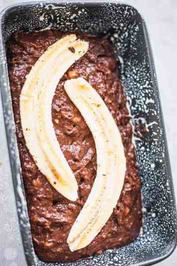 Banana bread in a loaf tin before baking
