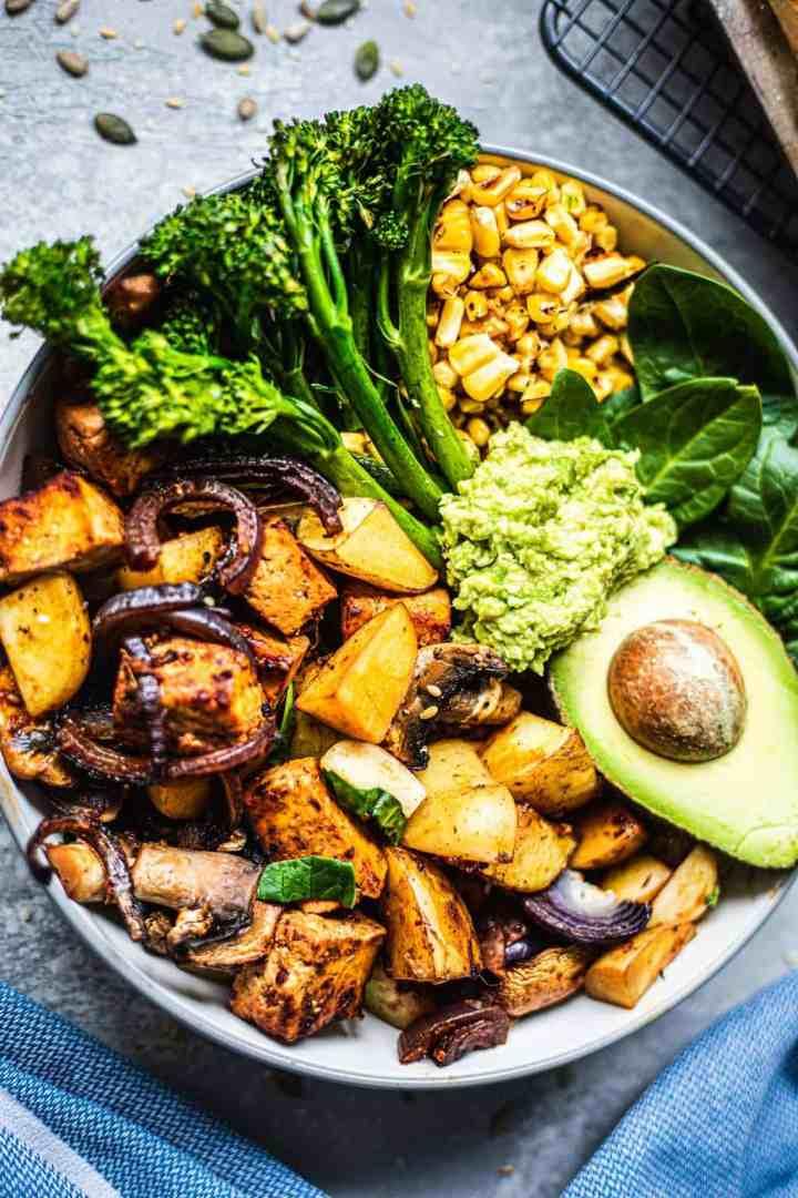 Bowl with vegan sheet pan dinner