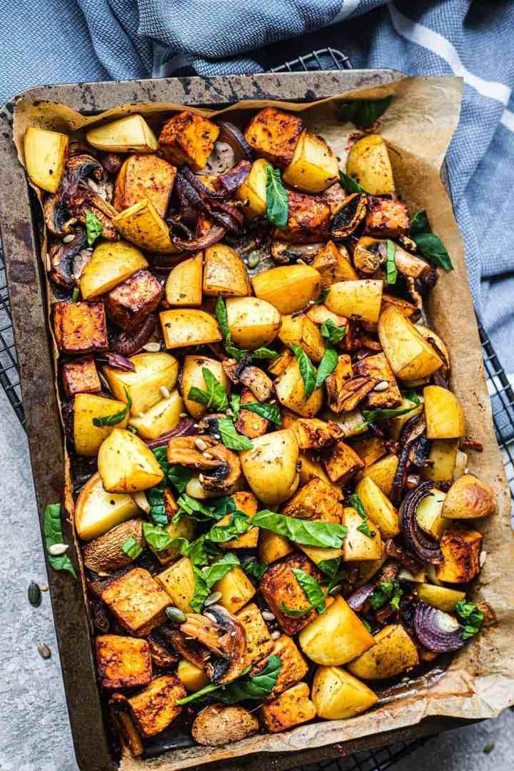 Sheet pan meal with potatoes and tofu