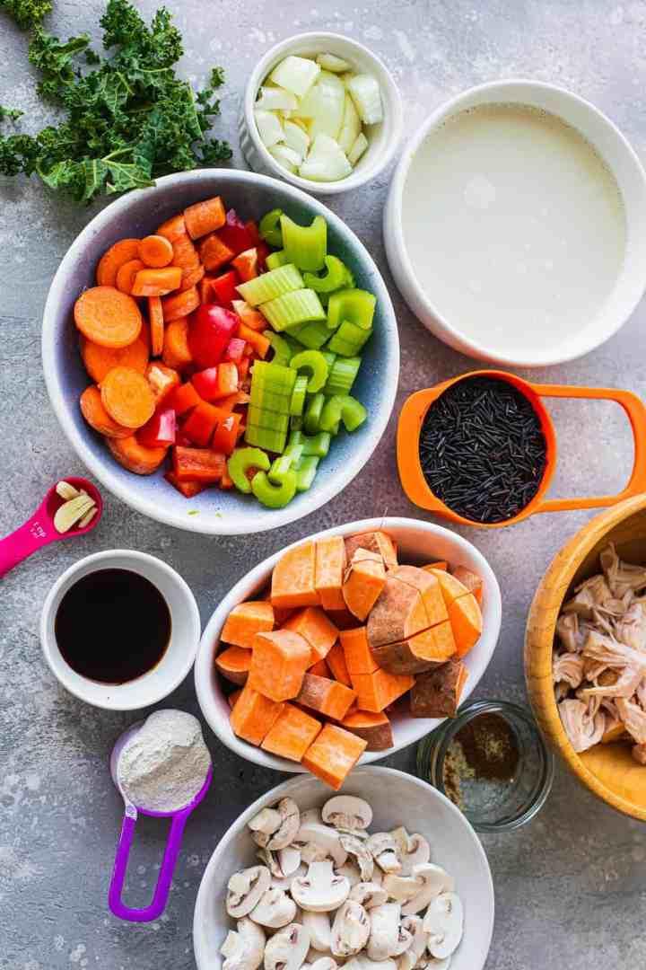 Vegan wild rice soup ingredients
