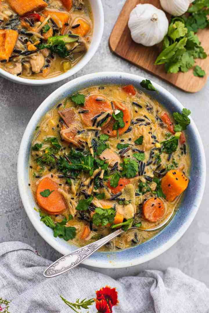 Bowl with vegan wild rice soup
