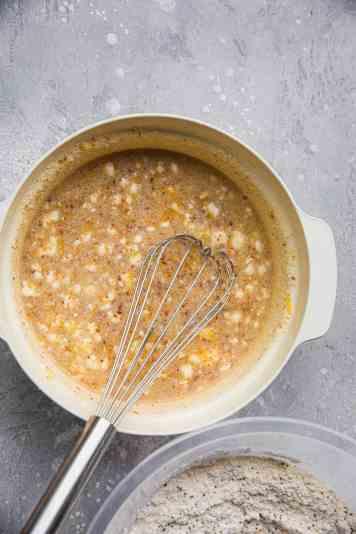 Vegan lemon loaf ingredients in a mixing bowl