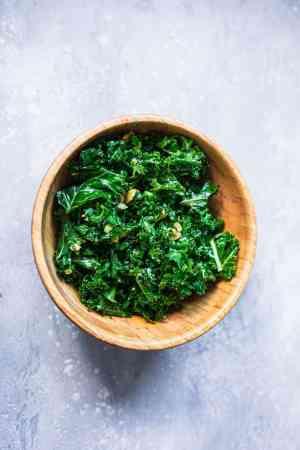 Massaged kale salad with olives