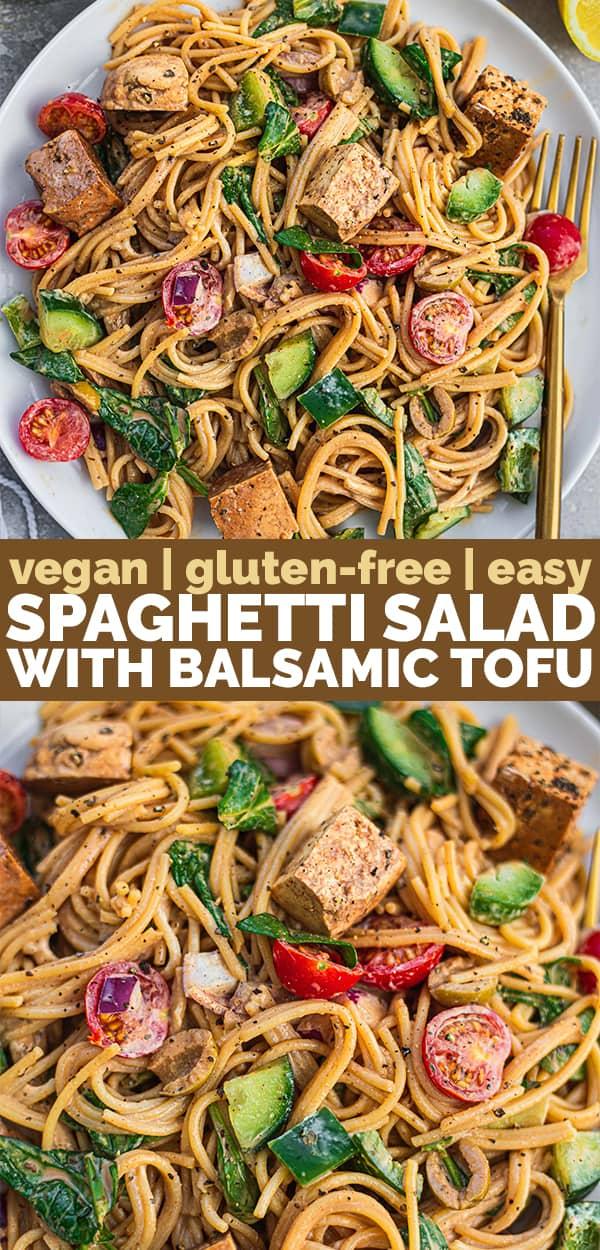 Vegan spaghetti salad with balsamic tofy