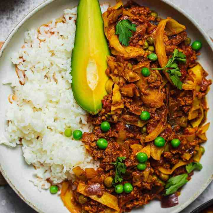 Vegan soy mince and pea stew gluten-free oil-free