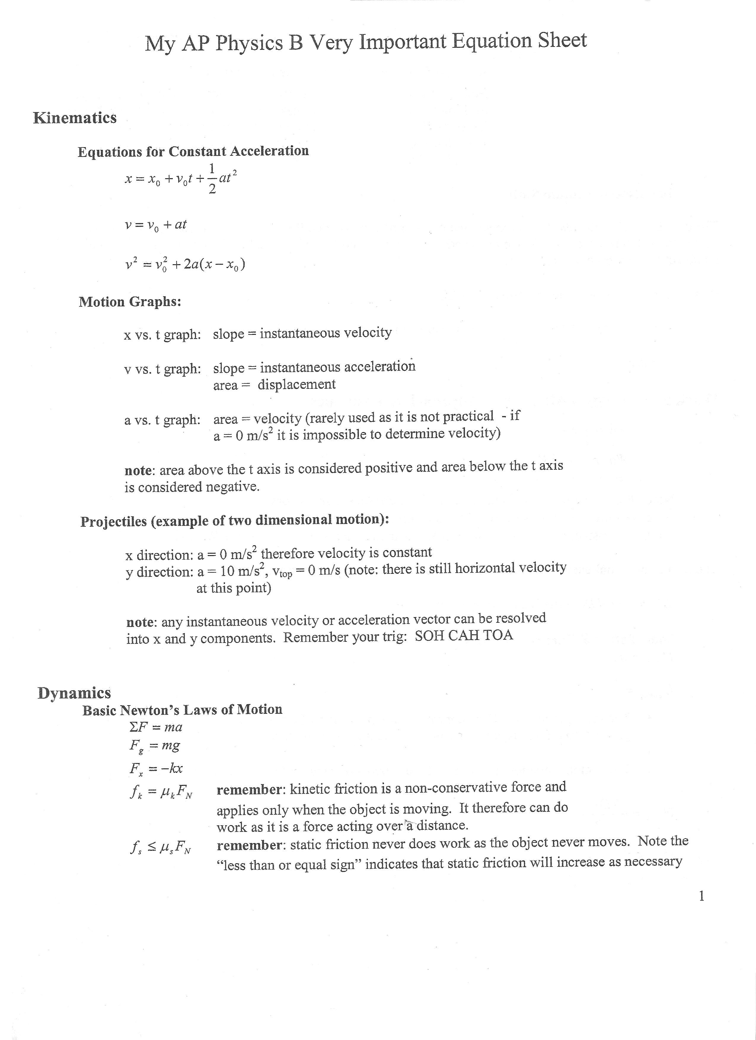 Physics Equations Sheet Gcse
