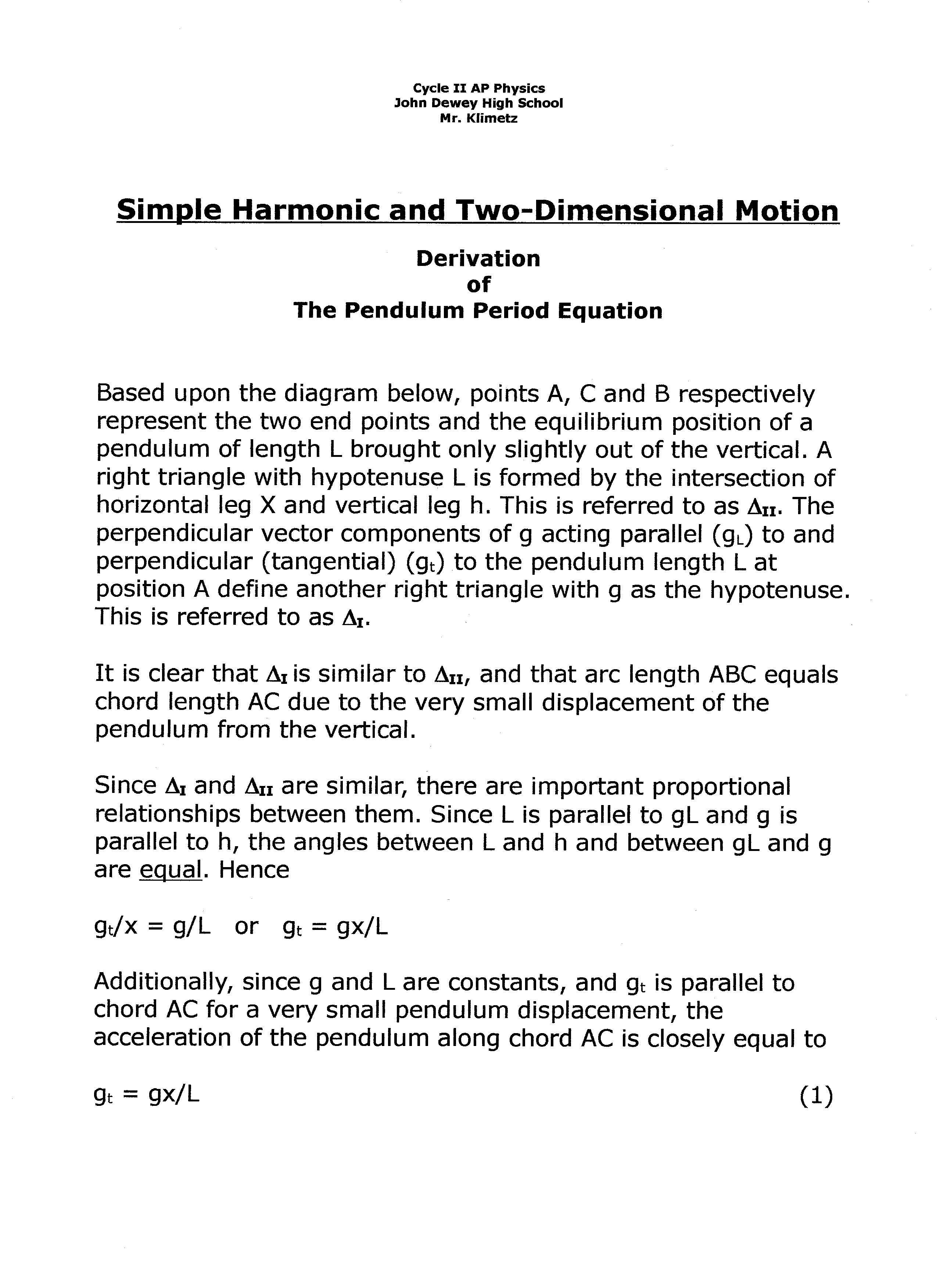 Shm Pendulum Motion Period Equation Derivation