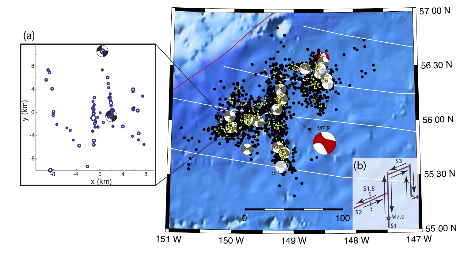hight resolution of map of the aftershocks and moment tensors black circles show m 3 aftershocks while yellow circles show relocated aftershocks grey beach balls are from