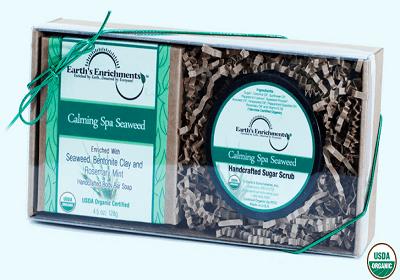 Calming Spa Seaweed Organic Bar Soap and Sugar Scrub
