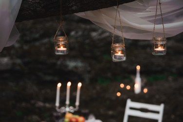 Wedding decor in the mountains, candlelight dinner
