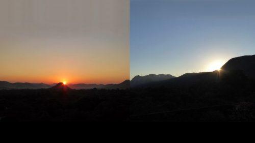 Duas imagens do pôr do sol, com o sol em posições diferentes em relação a um horizonte rochoso.