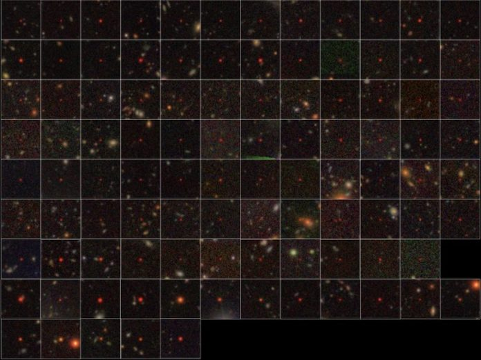 A grid placed across a portion of the sky with very many multicolored dots and tiny smudges.