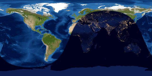 Worldwide map of day and night sides of Earth at the instant of the June 2020 full moon.