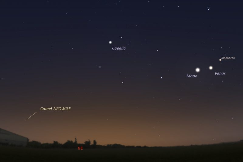 Chart in early dawn sky with Venus, moon, Capella, location of comet barely above horizon.