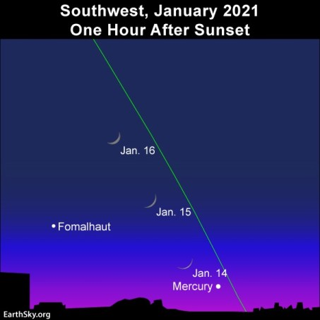 Young moon and Mercury adorn January evening twilight