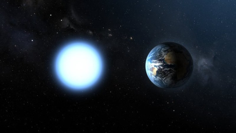 Bright white Earth-sized star beside the Earth, with stars in background.
