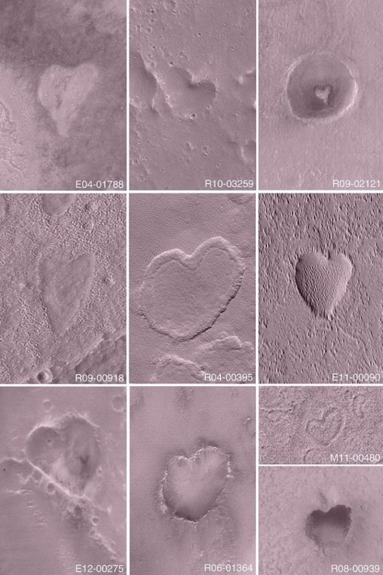 An orbital view of 10 different heart-shaped shadows in pink landscapes.