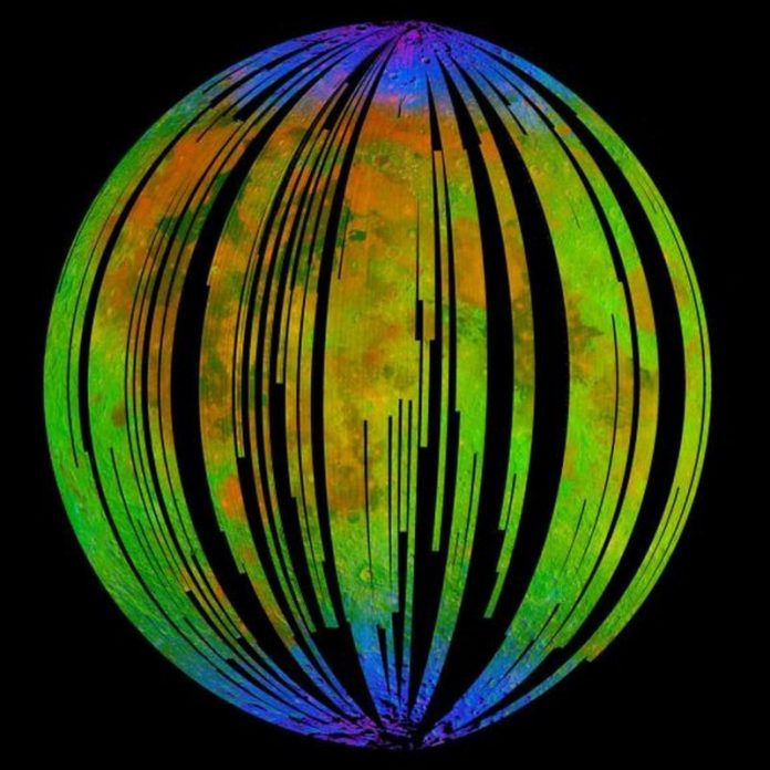 Green and black striped ball with blue at top and bottom.