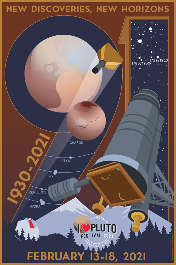 Poster with drawing of Pluto and telescope.