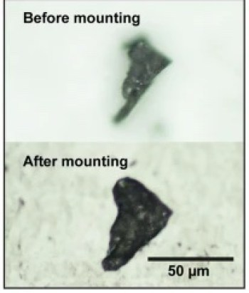 Grey-scale image with 2 panels, both featuring a small triangular flake of rock.
