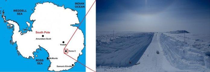 अंटार्कटिका का मानचित्र, बर्फ में चौड़ी, गहरी, चिकनी तली खाई के दृश्य के साथ।