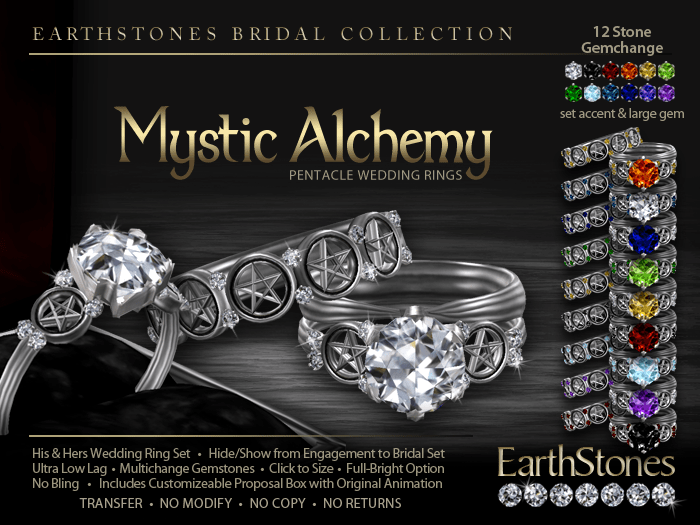 Alchemy Pentacle Wedding Rings EarthStones