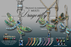 Dragonfly Necklace & Earrings - Multi