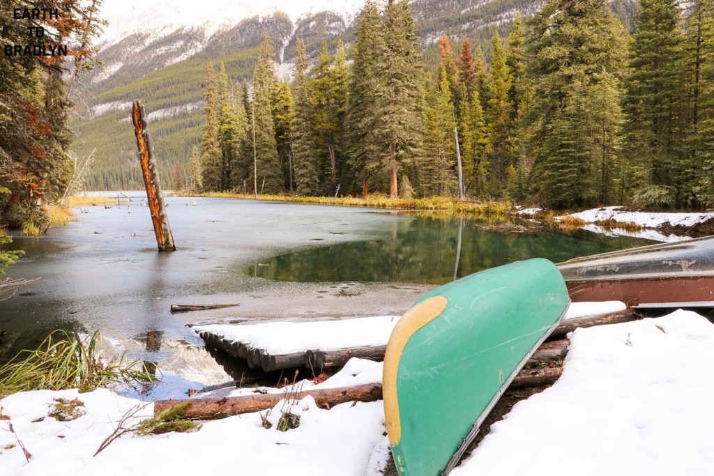 A canoe sits on the edge of Beaver Lake, about two kilometres into the hike.