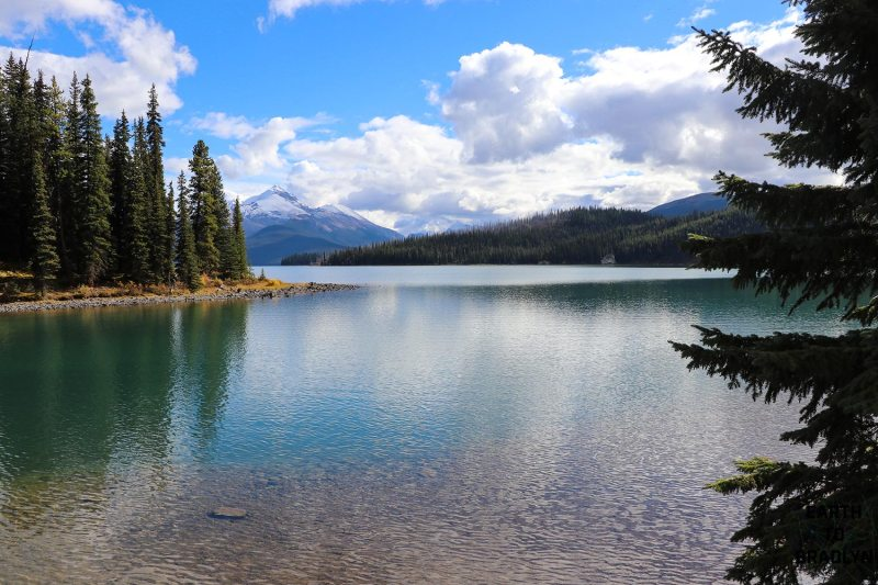 The blue water of Maligne Lake!