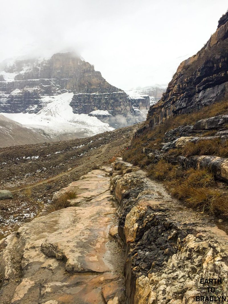 As you hike through the areas, specifically The Plain of Six Glaciers, you will see Quartzite and Quartzose.