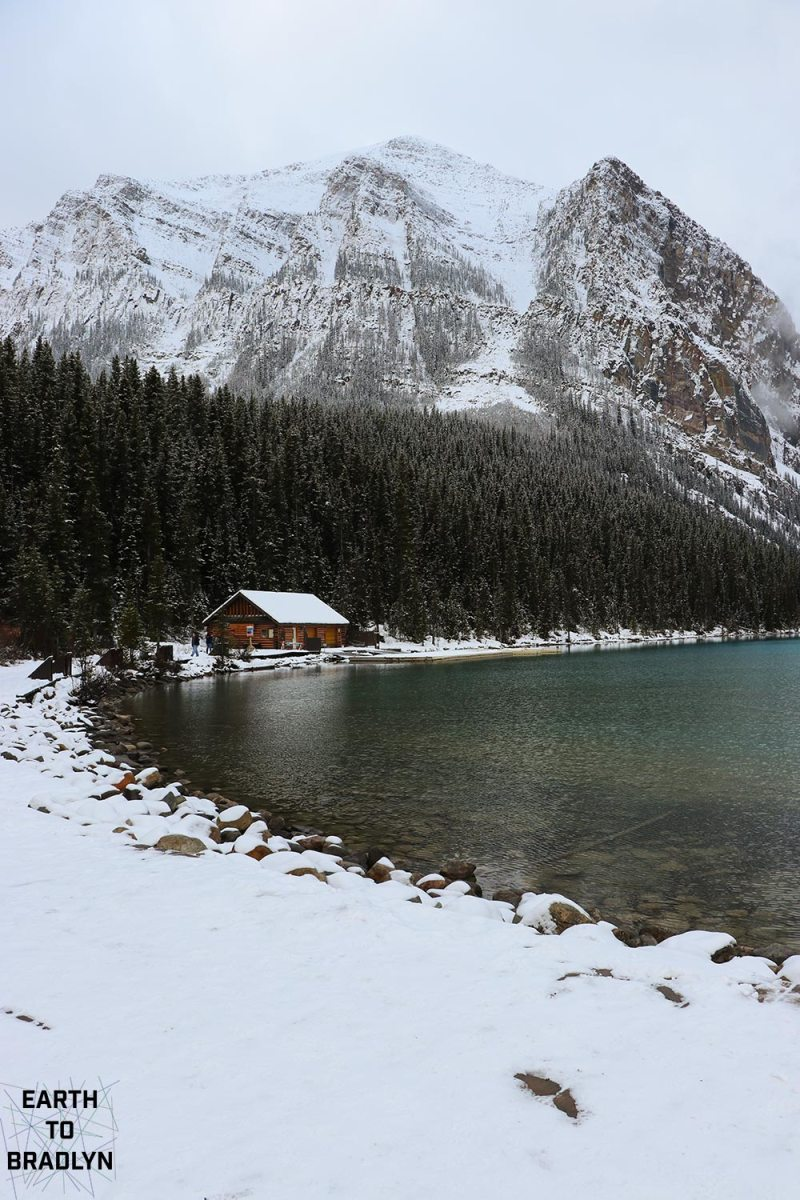 Lake Louise in Winter is a snow dusted wonderland. Expect crowds no matter the weather.