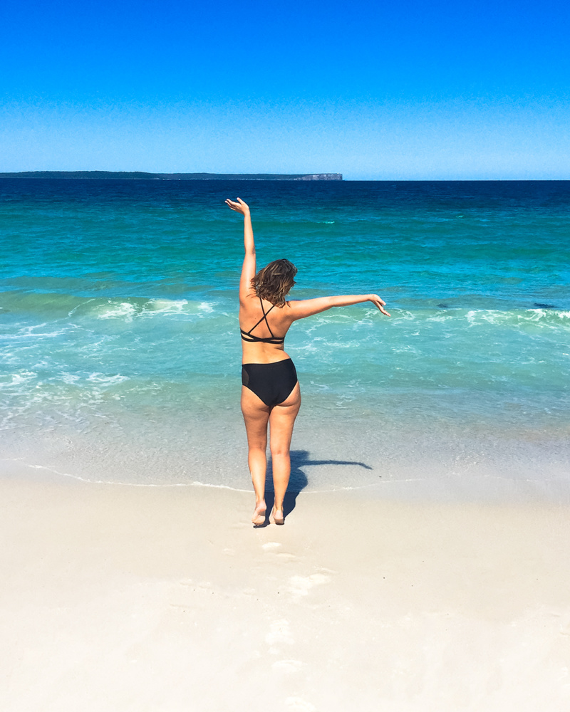 Jervis Bay - Walking on the beach towards the water. Best way to explore beautiful Jervis Bay and Hyams Beach.
