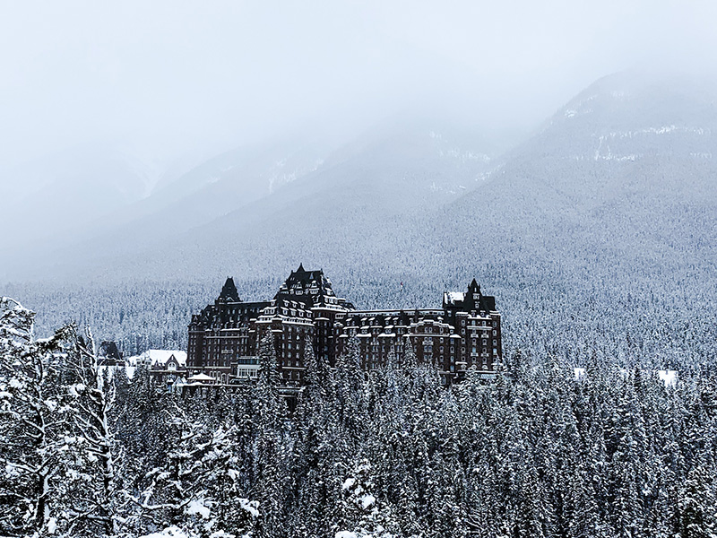 The magnificent Banff Springs Hotel in Banff Canada. Canada's Castle in the Rockies.