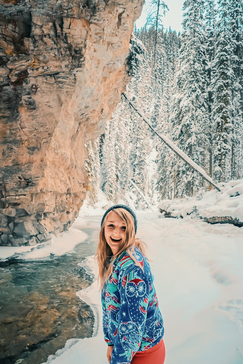 "Johnston Canyon's hidden ""secret"" cave is even more magical in the winter!"