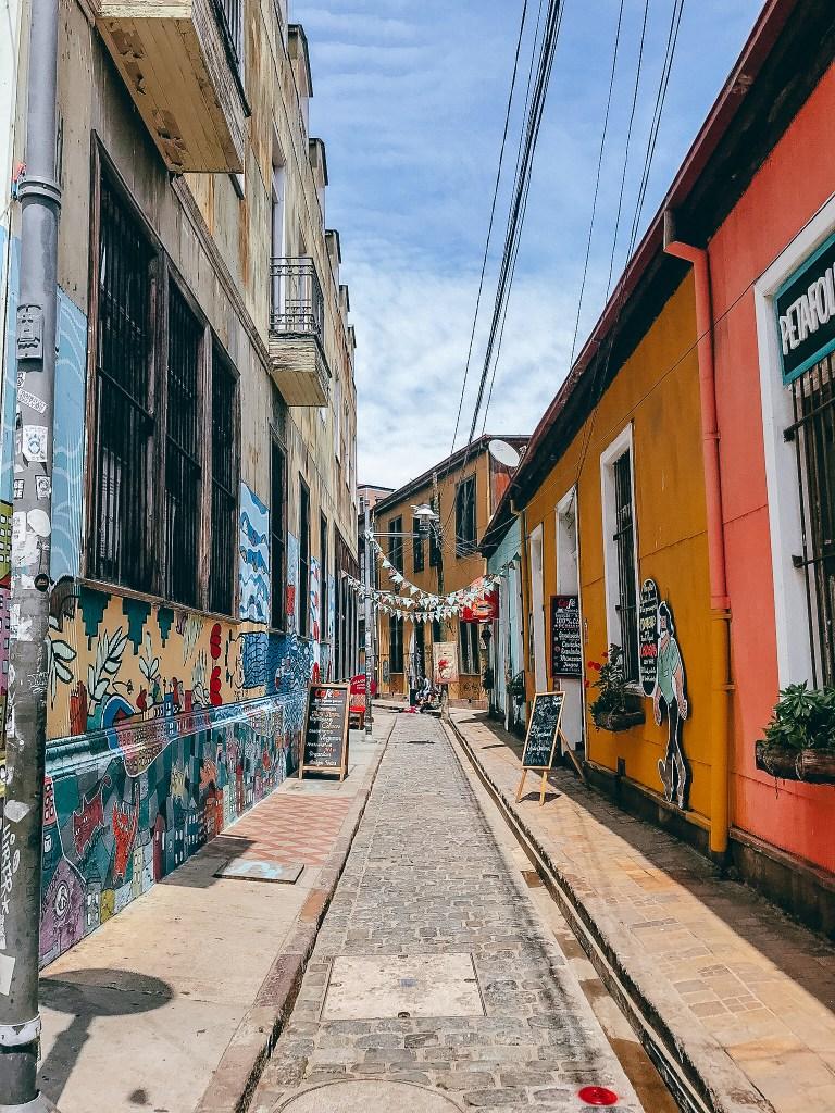 Colorful Alleyway in Valparaiso Santiago