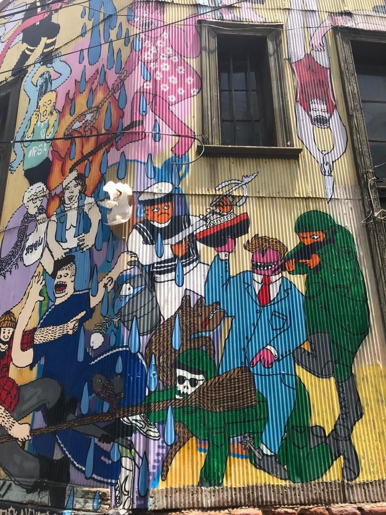 Political graffiti art in Valparaiso