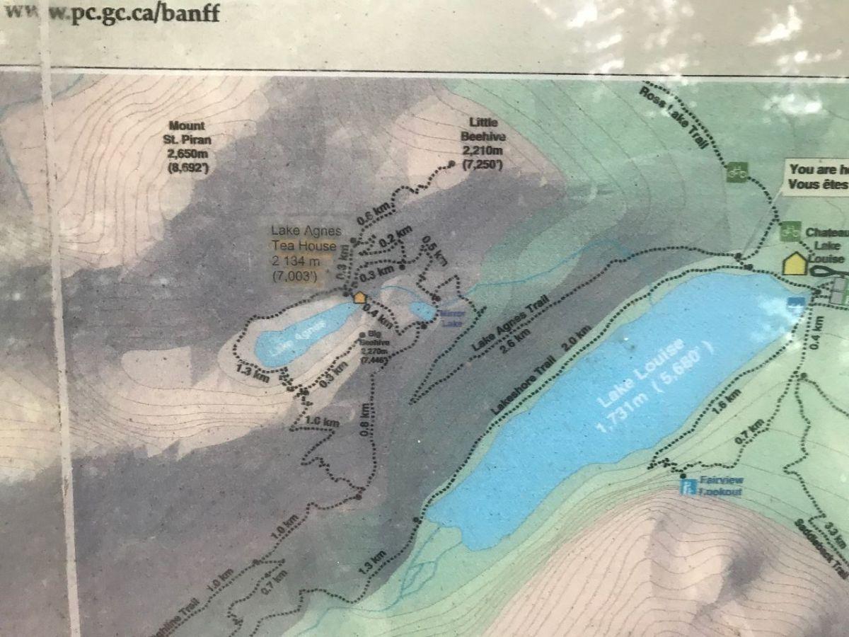 Hiking Trails Map around Lake Louise