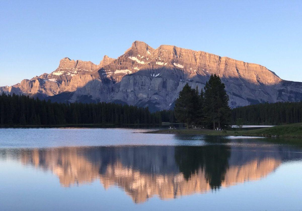 Two Jack Lake Sunrise in Banff National Park Canada