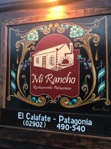 Sign at Mi Rancho El Calafate