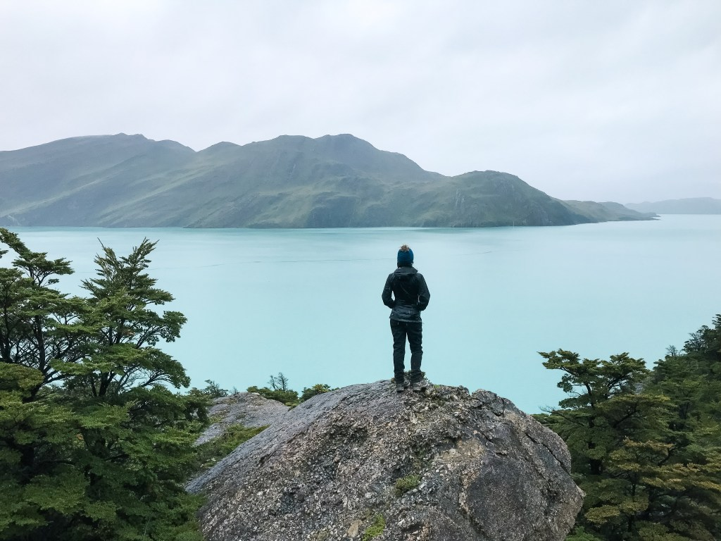 the blue lake in Torres Del Paine