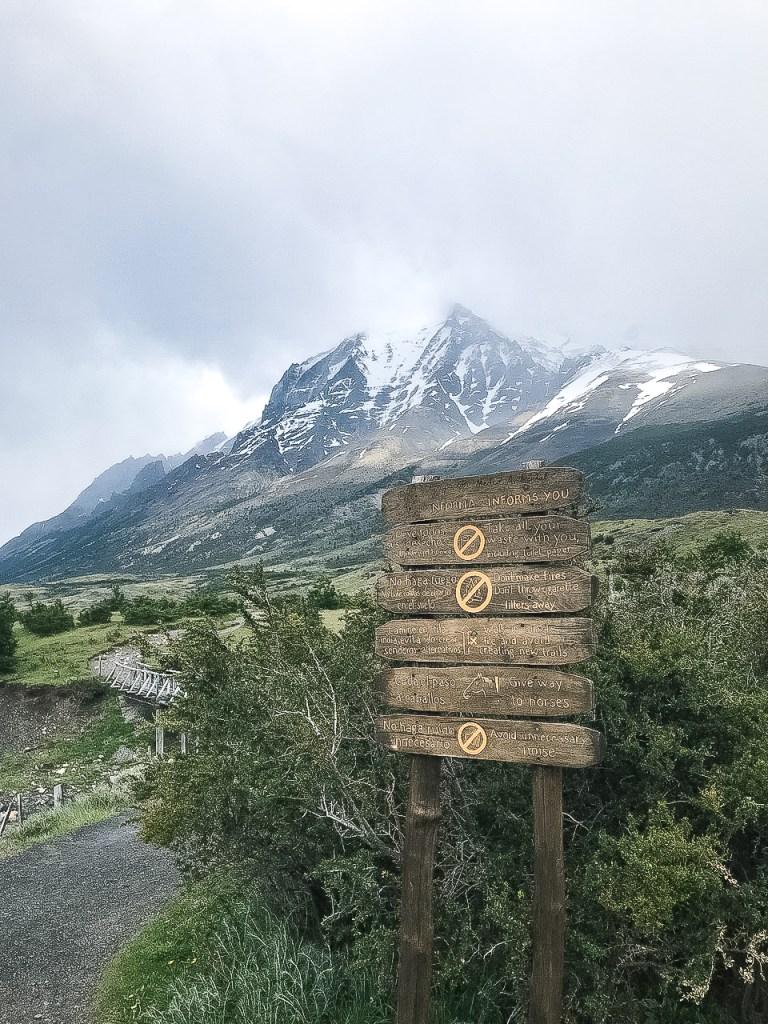 Sign for start of hike to Las Torres W trek Torres del Paine