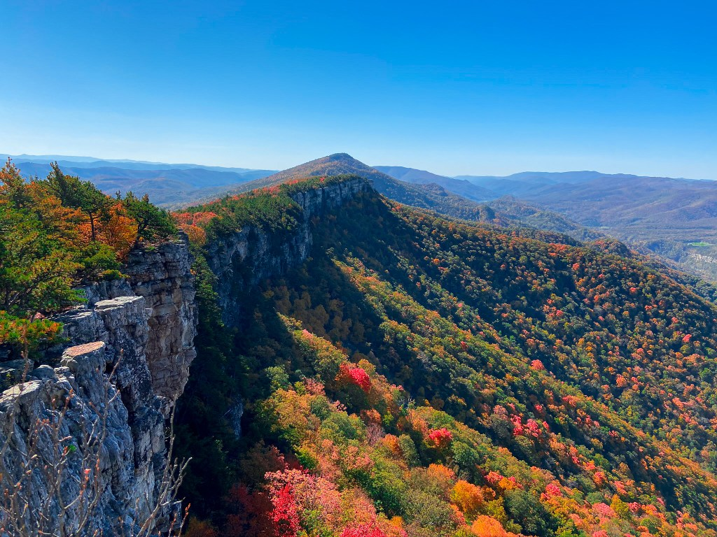 Chimney Top Hike on North Fork Mountain in Fall Ridgeline best place to visit in West Virginia