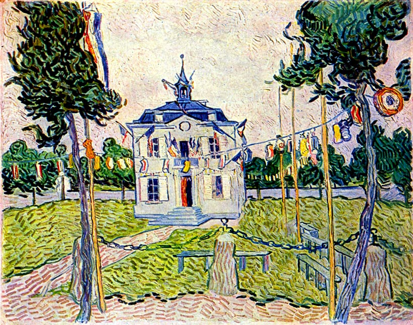 Van Gogh's painting of the Auvers-sur-Oise town hall.