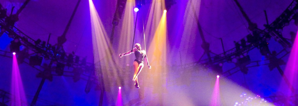 Acrobat on ropes high under the tent ceiling.