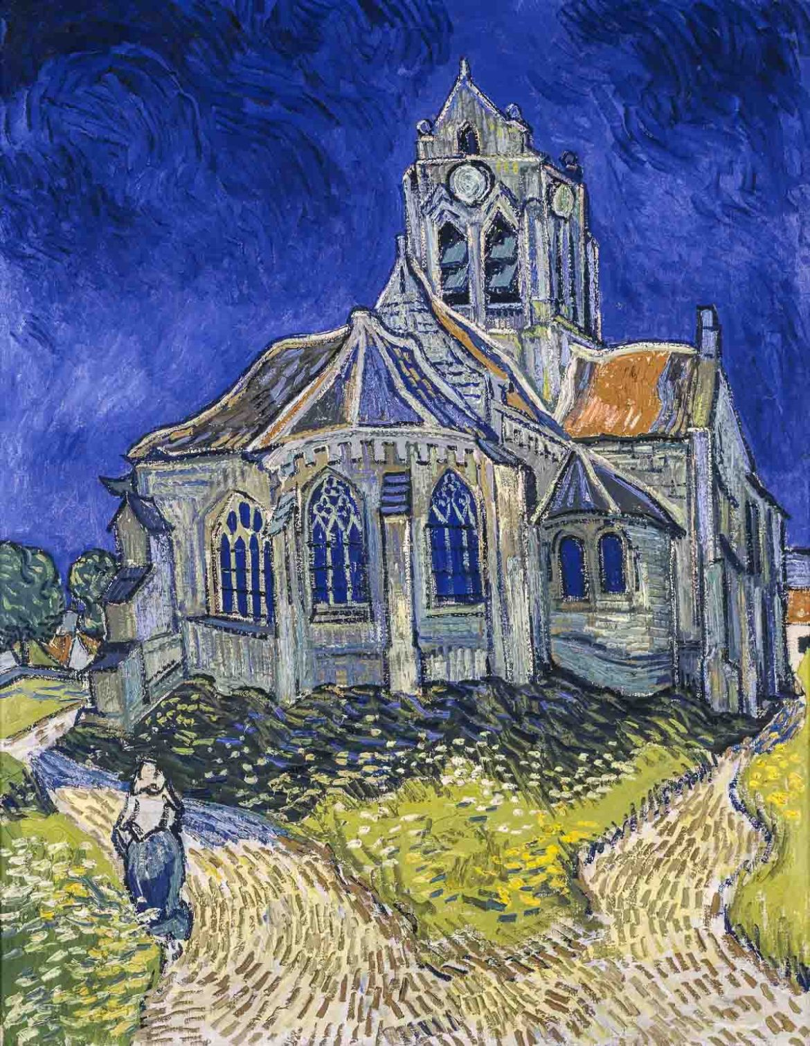 A Van Gogh painting of the church in Auvers-sur-Oise.