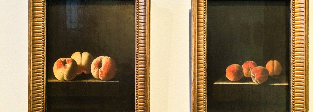 Picture of two paintings of peaches.