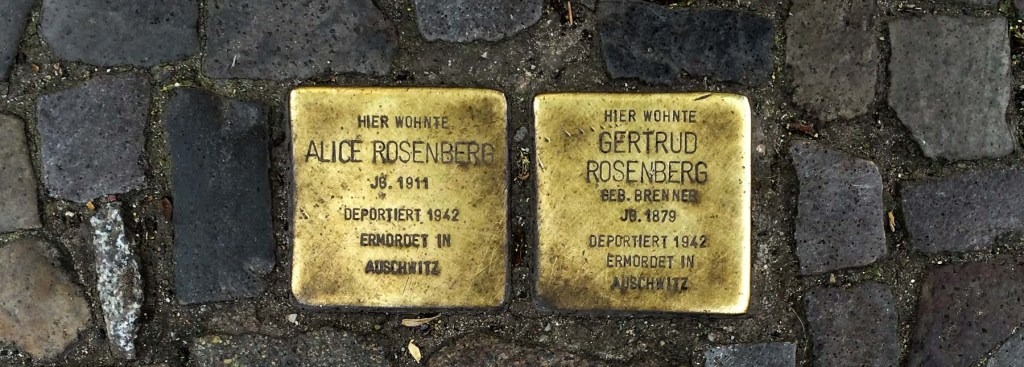 A picture of Stolpersteine.
