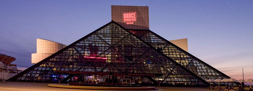 Picture of the Rock and Roll Hall of Fame building.